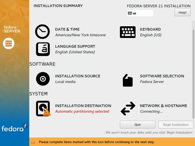 Fedora-Server-21-Installation-Summary